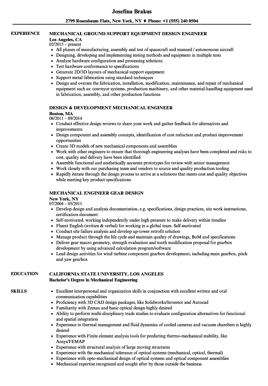 hight resolution of download mechanical engineer design resume sample as image file