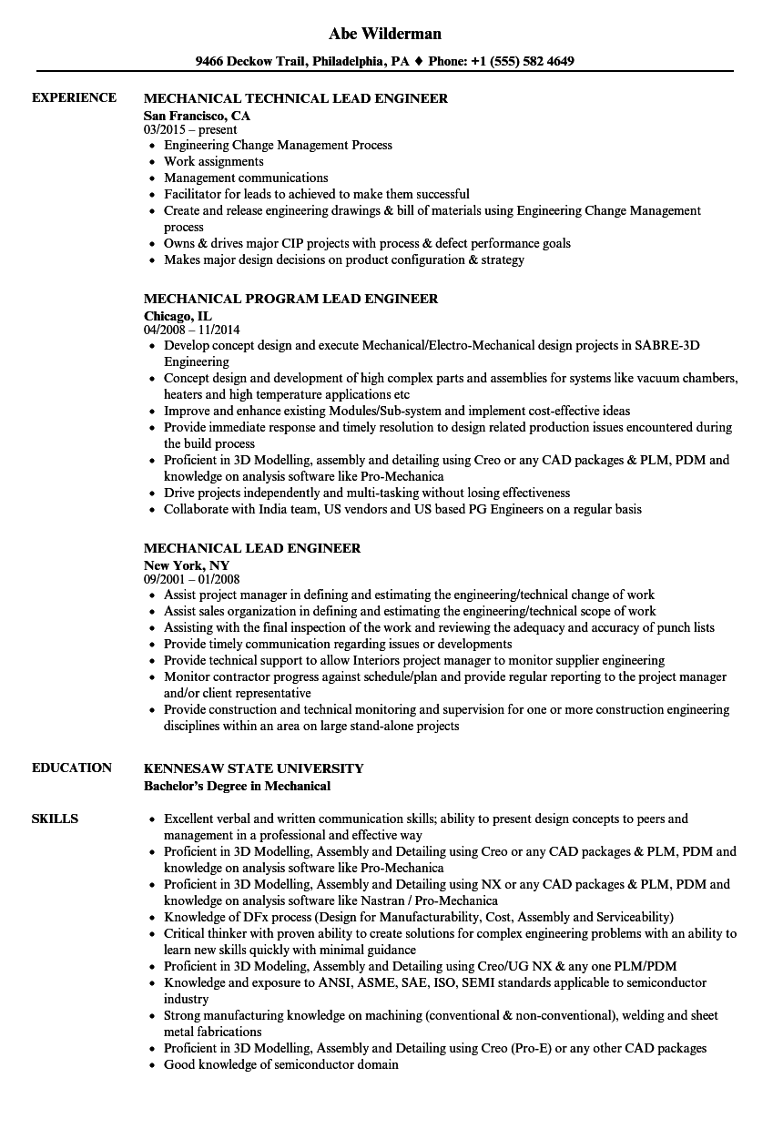 Lead Mechanical Engineer Cover Letter