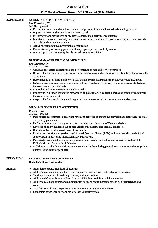 med surg nursing resume samples