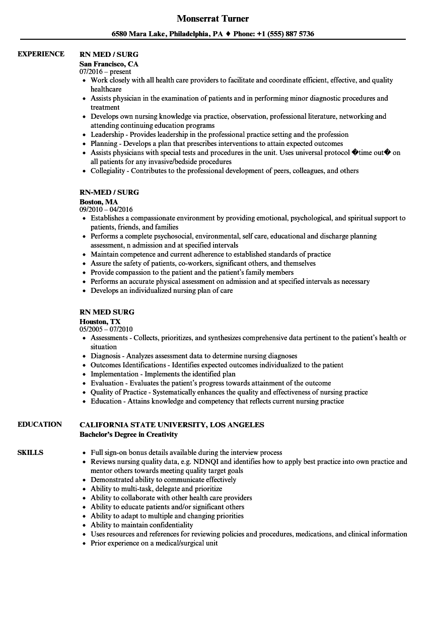 Med Surg RN Resume Samples  Velvet Jobs