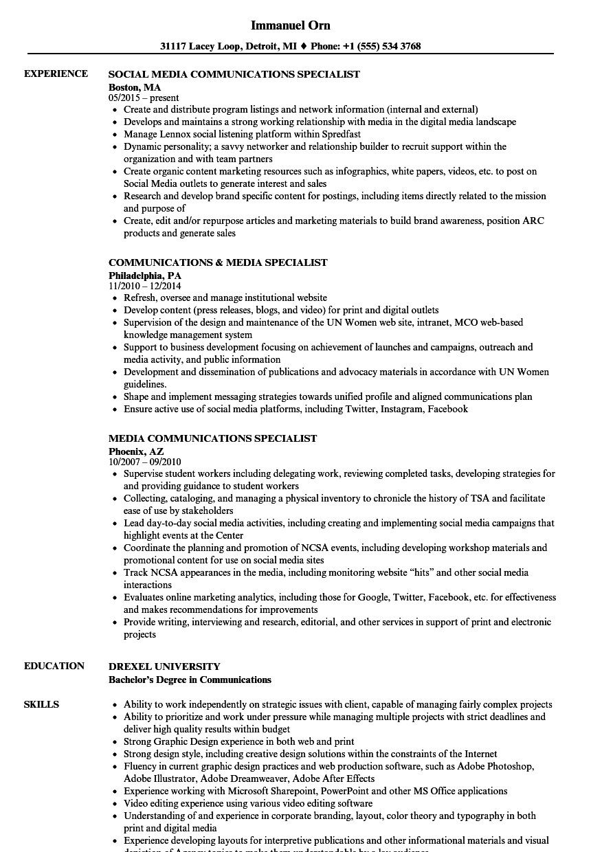 Media Communications Specialist Resume Samples Velvet Jobs