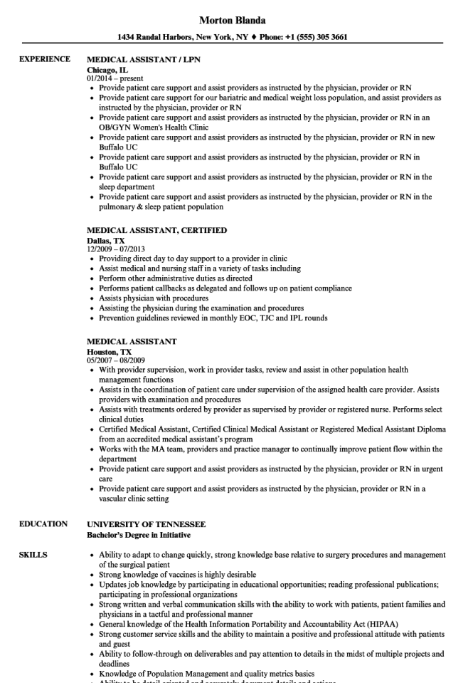 Medical Istant Resume Example | Medical Assistant Job Resume Resume Sample