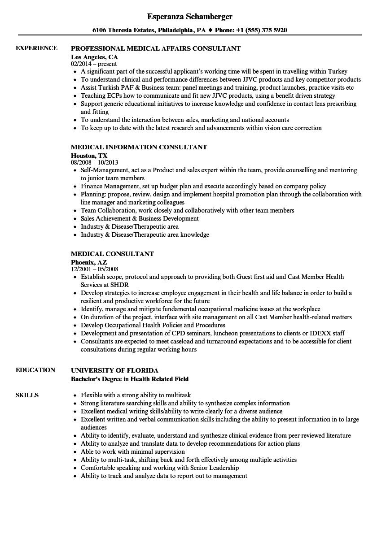 medical advisor resume