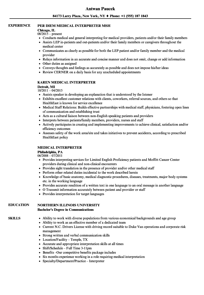 Medical Interpreter Resume