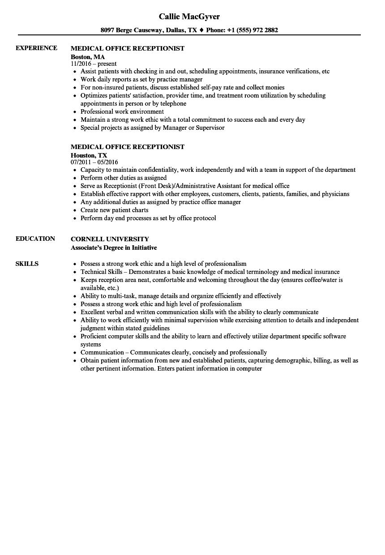 Receptionist Resume Receptionist Resume Receptionist Resume