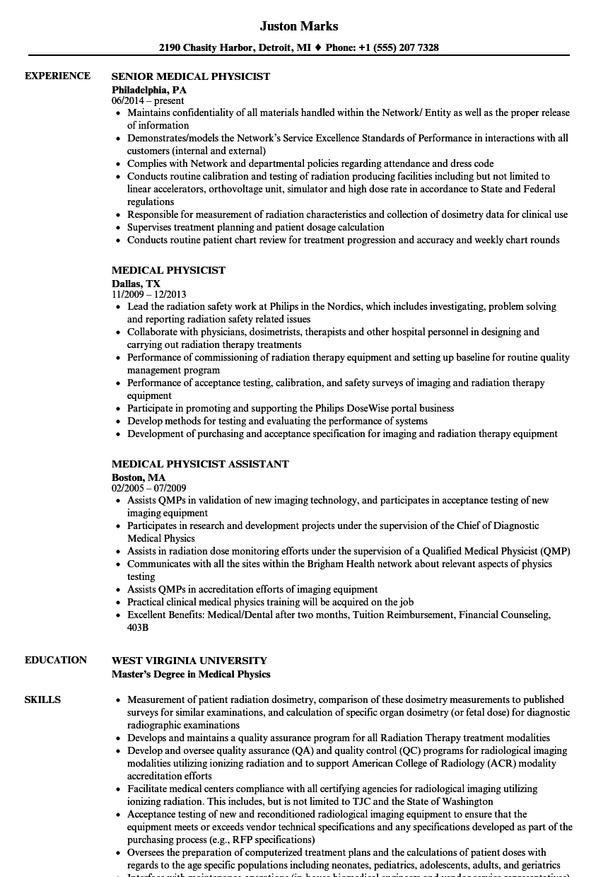 Medical Physicist Resume Samples Velvet Jobs