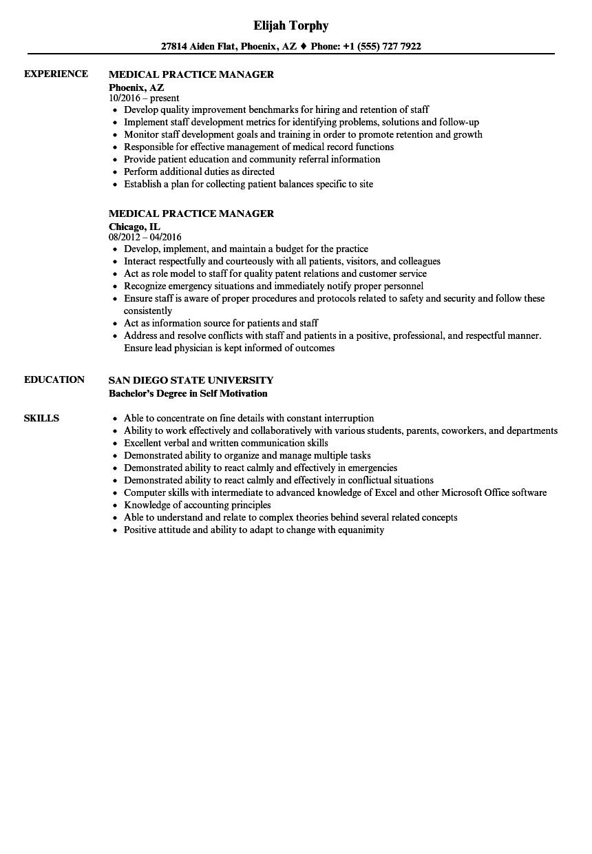 medical practice manager resume sample
