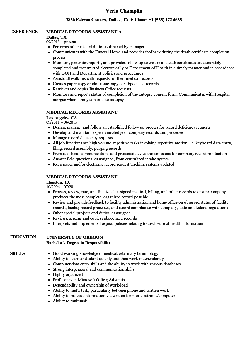 medical records resume sample