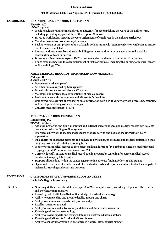 federal resume medical technician roi sample
