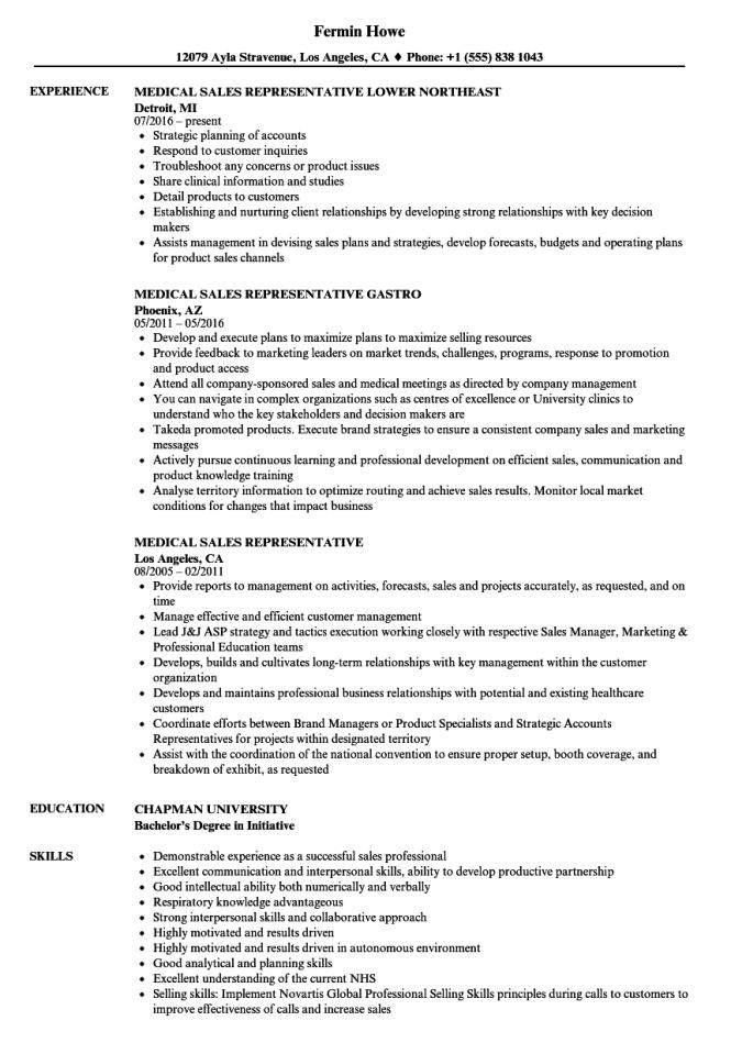 Medical Sales Representative Resume Resume Sample