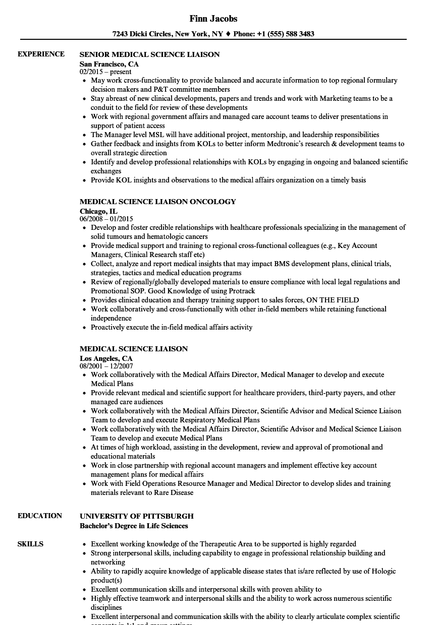 medical science liaison entry level resume sample