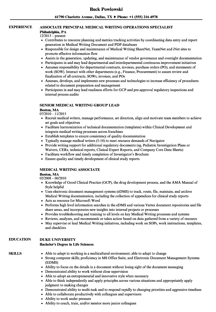 Medical Writing Resume Samples  Velvet Jobs