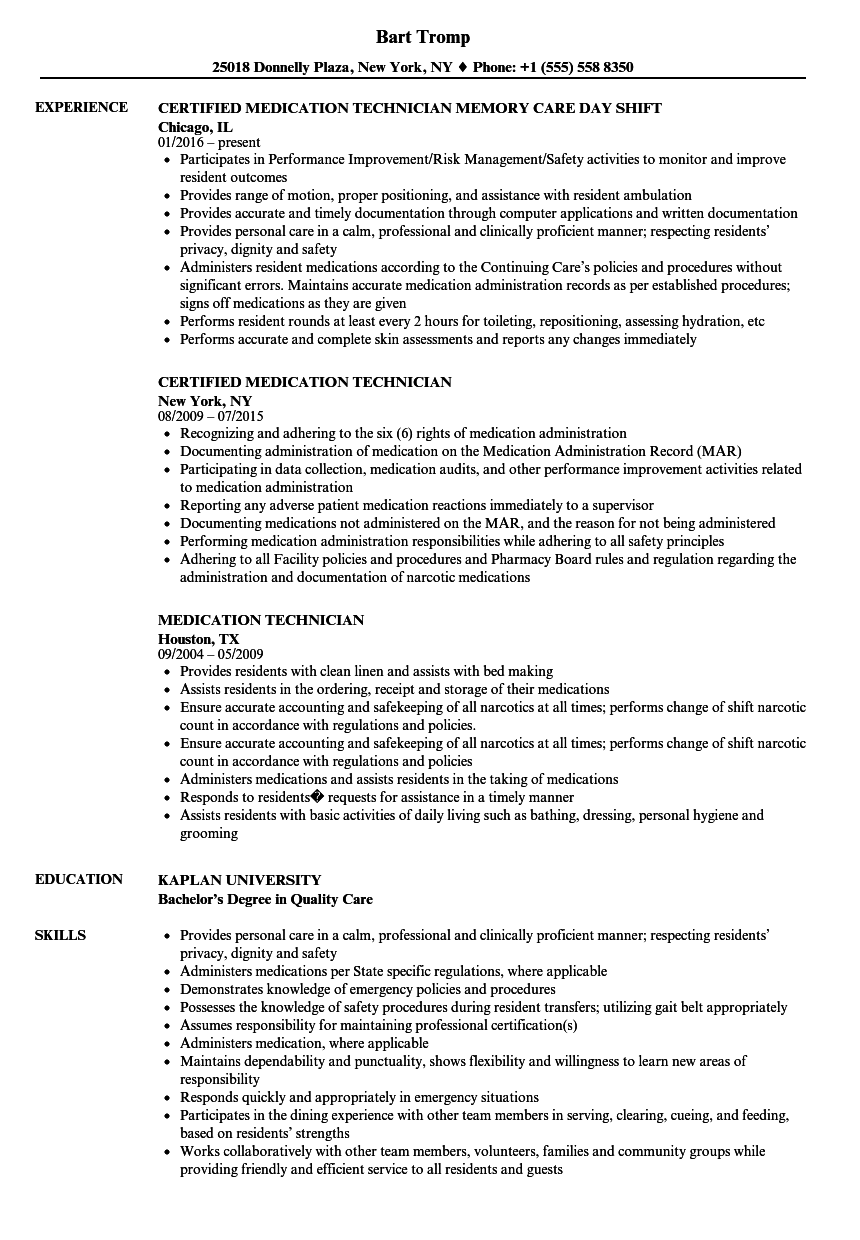 Medication Technician Resume Samples Velvet Jobs