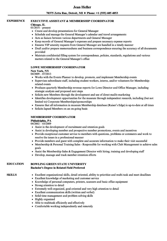 resume examples memberships