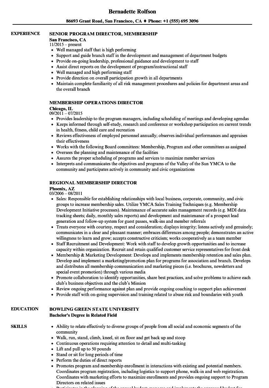 Membership Director Resume Samples Velvet Jobs