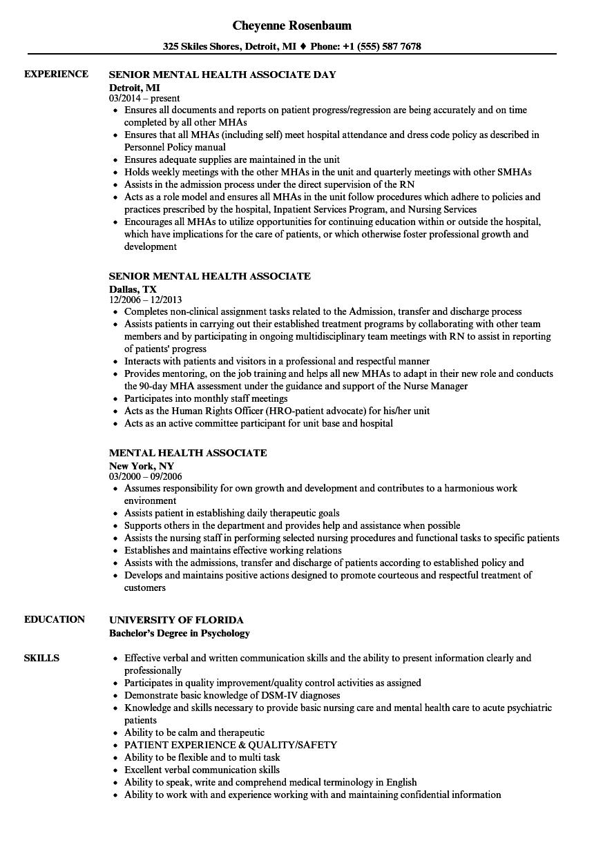 mha resume sample