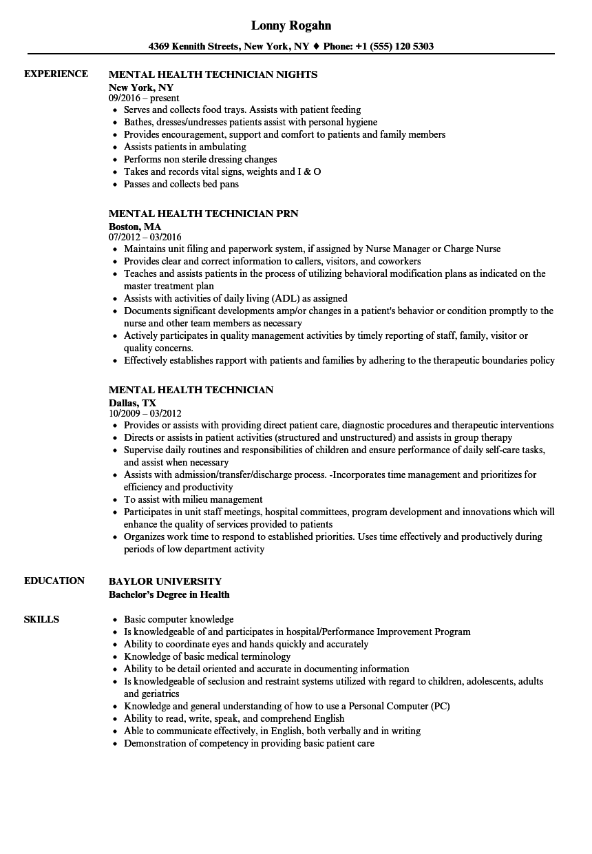 Download Mental Health Technician Resume Sample As Image File