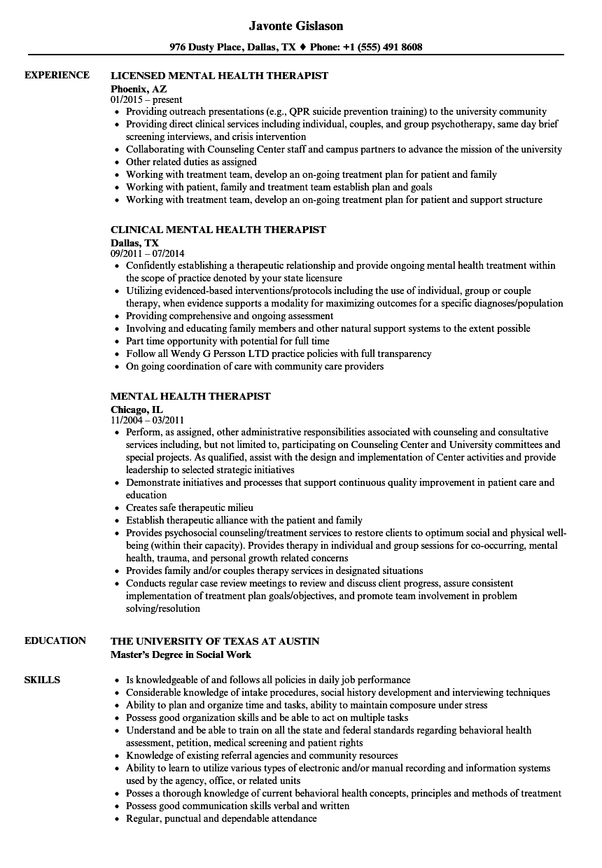 licensed professional counselor resume sample