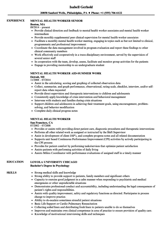 Download Mental Health Worker Resume Sample As Image File