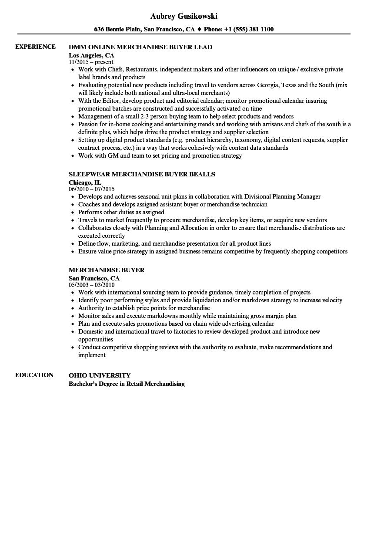 junior buyer resume sample