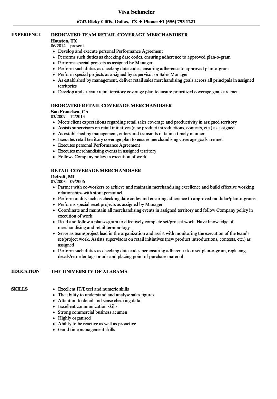 merchandising resume samples
