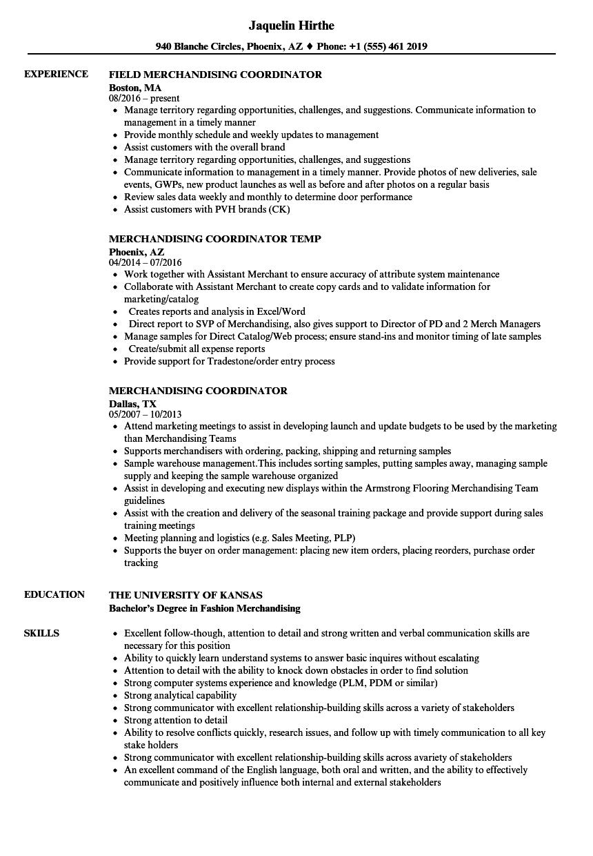 Merchandising Coordinator Resume Samples Velvet Jobs