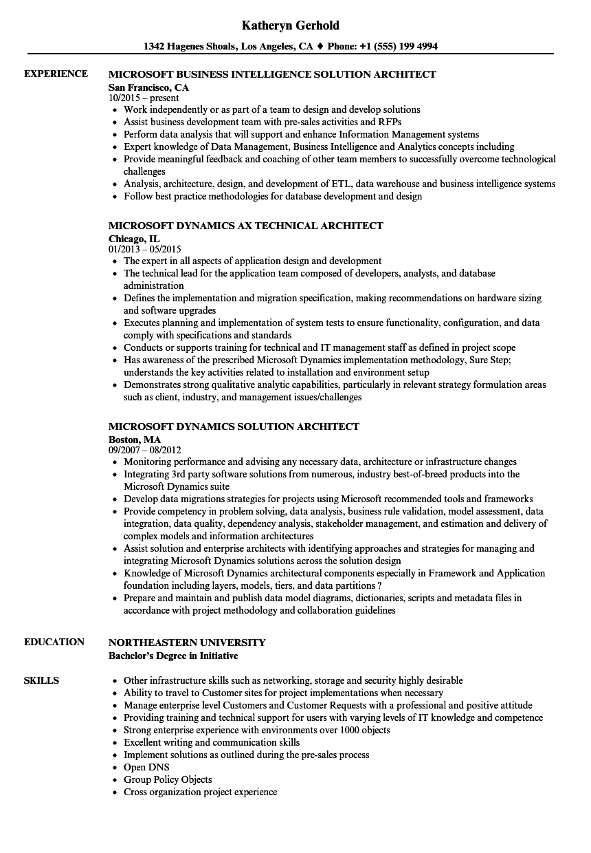 Microsoft Architect Resume Samples Velvet Jobs