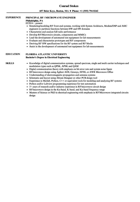 microwave technician sample resume