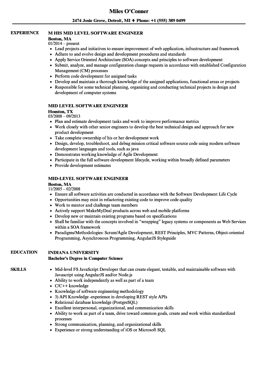 Mid Level Software Engineer Resume Samples Velvet Jobs