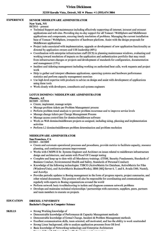 weblogic admin resume sample