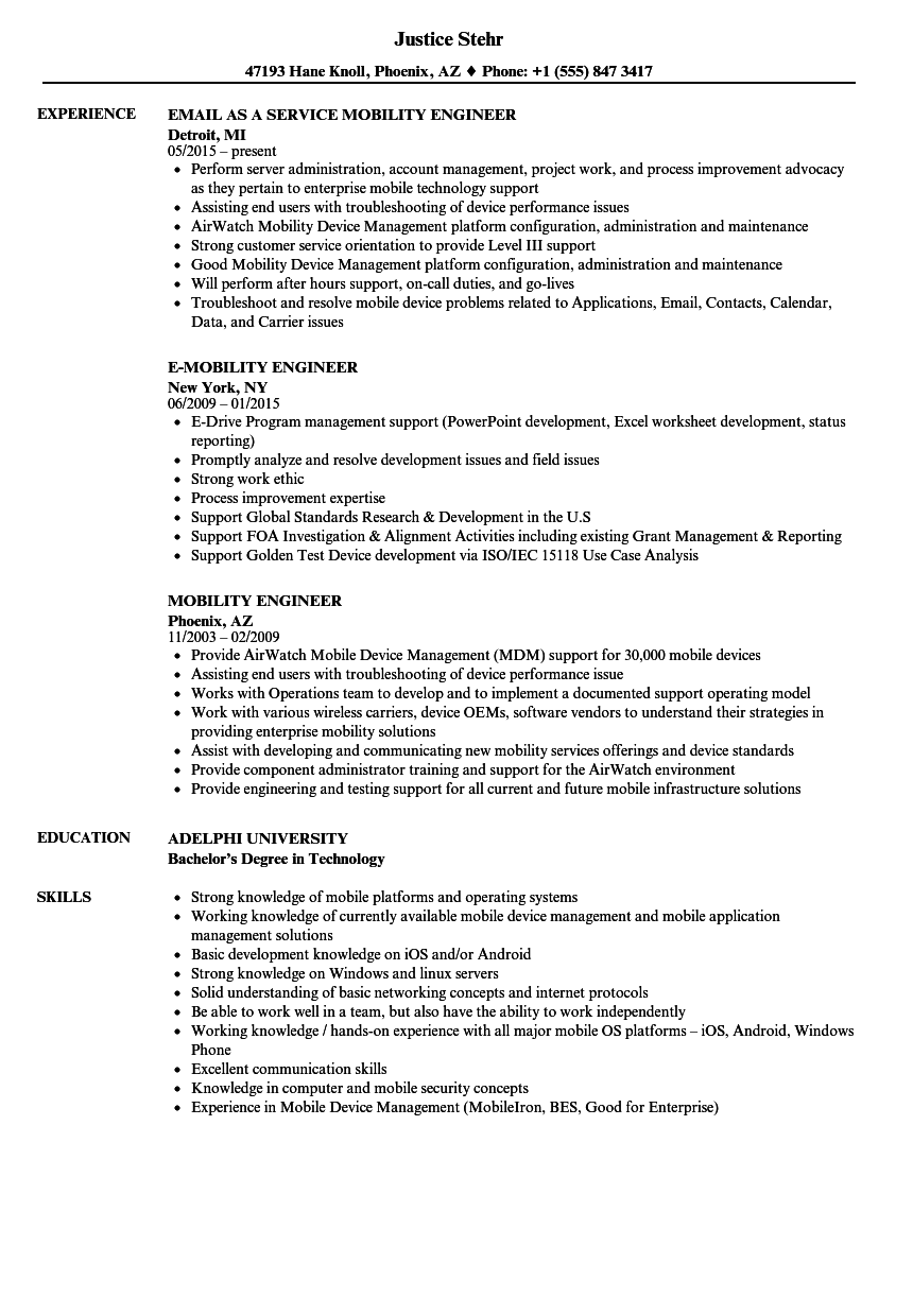 Mobility Engineer Resume Samples Velvet Jobs