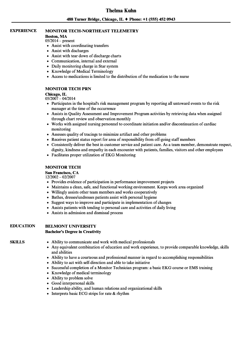 Monitor Tech Resume Resume Ideas