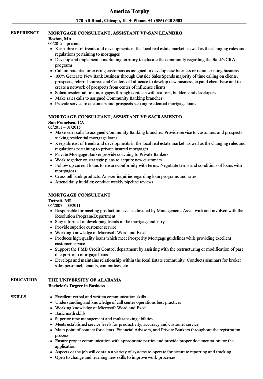 Mortgage Consultant Resume Samples Velvet Jobs