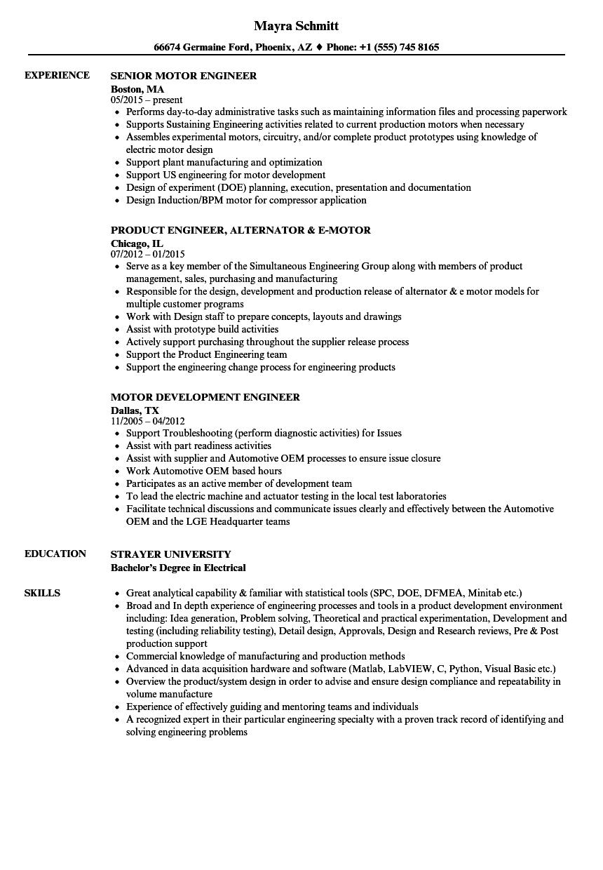 indudction motor design engineer resume sample