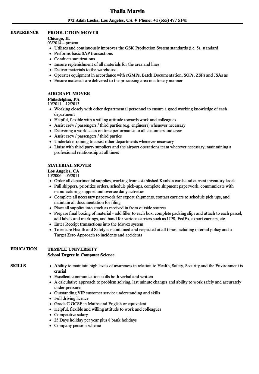 professional mover resume sample
