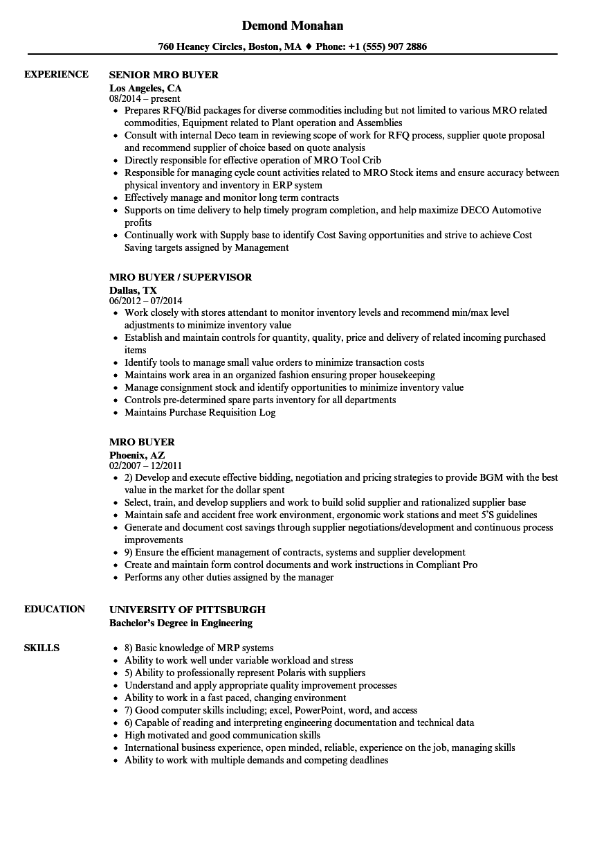 MRO Buyer Resume Samples Velvet Jobs