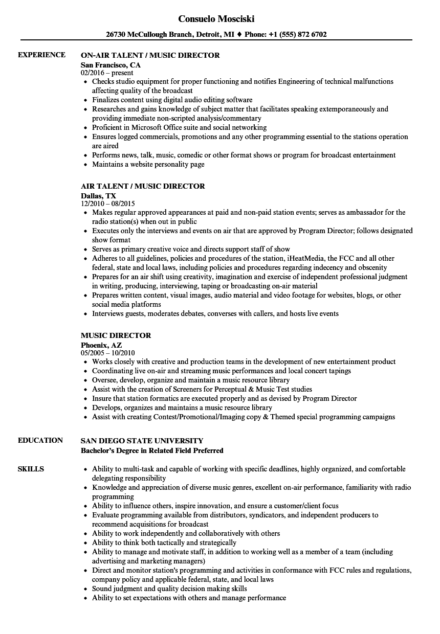 Download Music Director Resume Sample As Image File