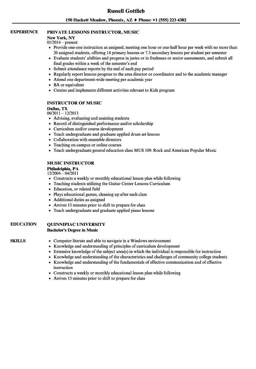 Music Instructor Resume Samples Velvet Jobs