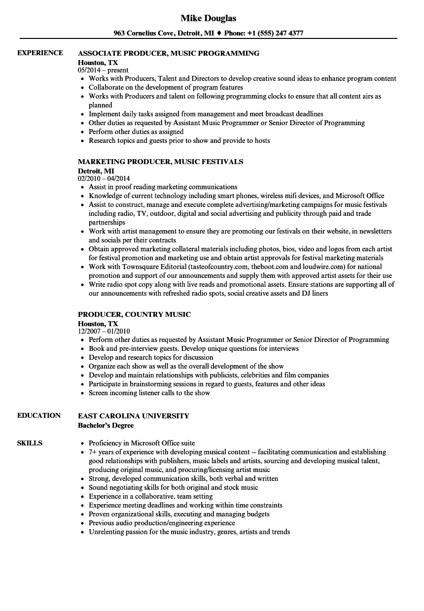 Music Producer Resume Samples Velvet Jobs