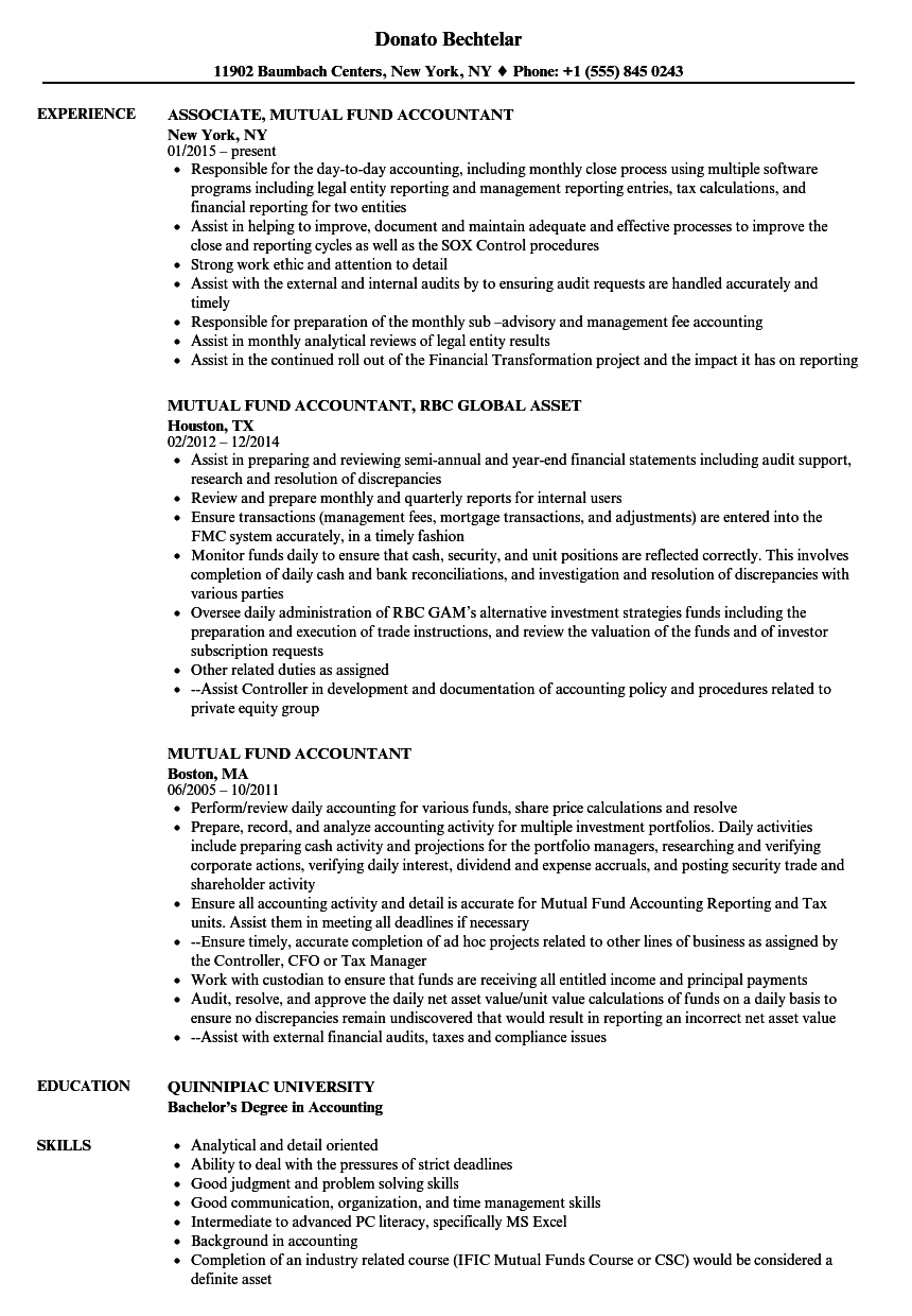Mutual Fund Accountant Cover Letter
