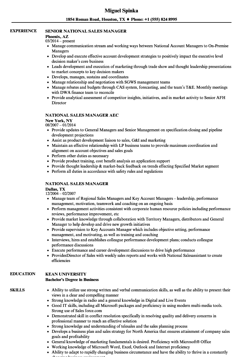 sample resume for direct sales manager
