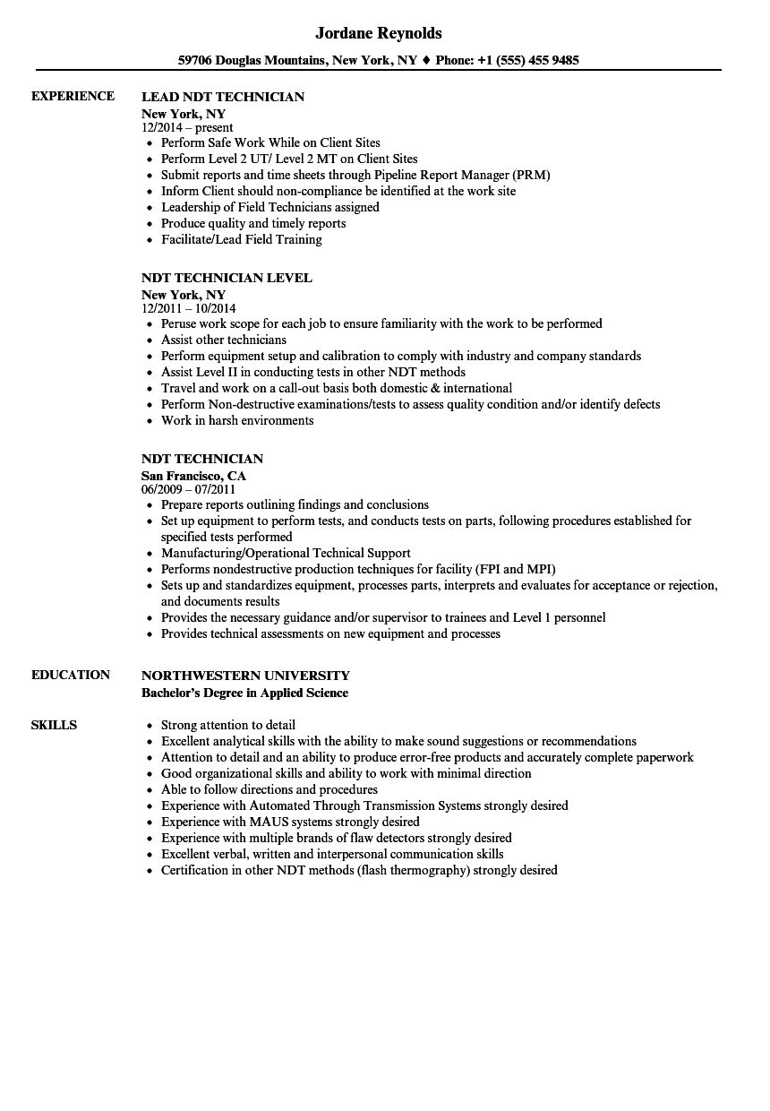 Ndt Technician Resume Example Resume Ideas