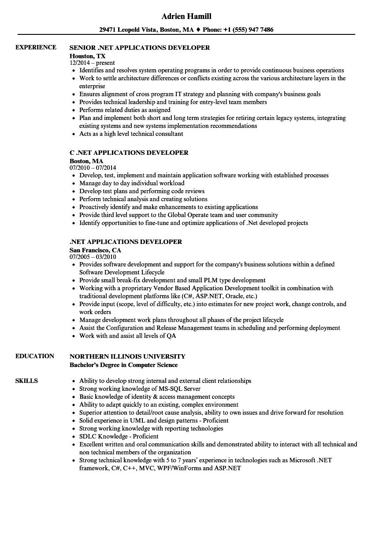 NET Applications Developer Resume Samples  Velvet Jobs