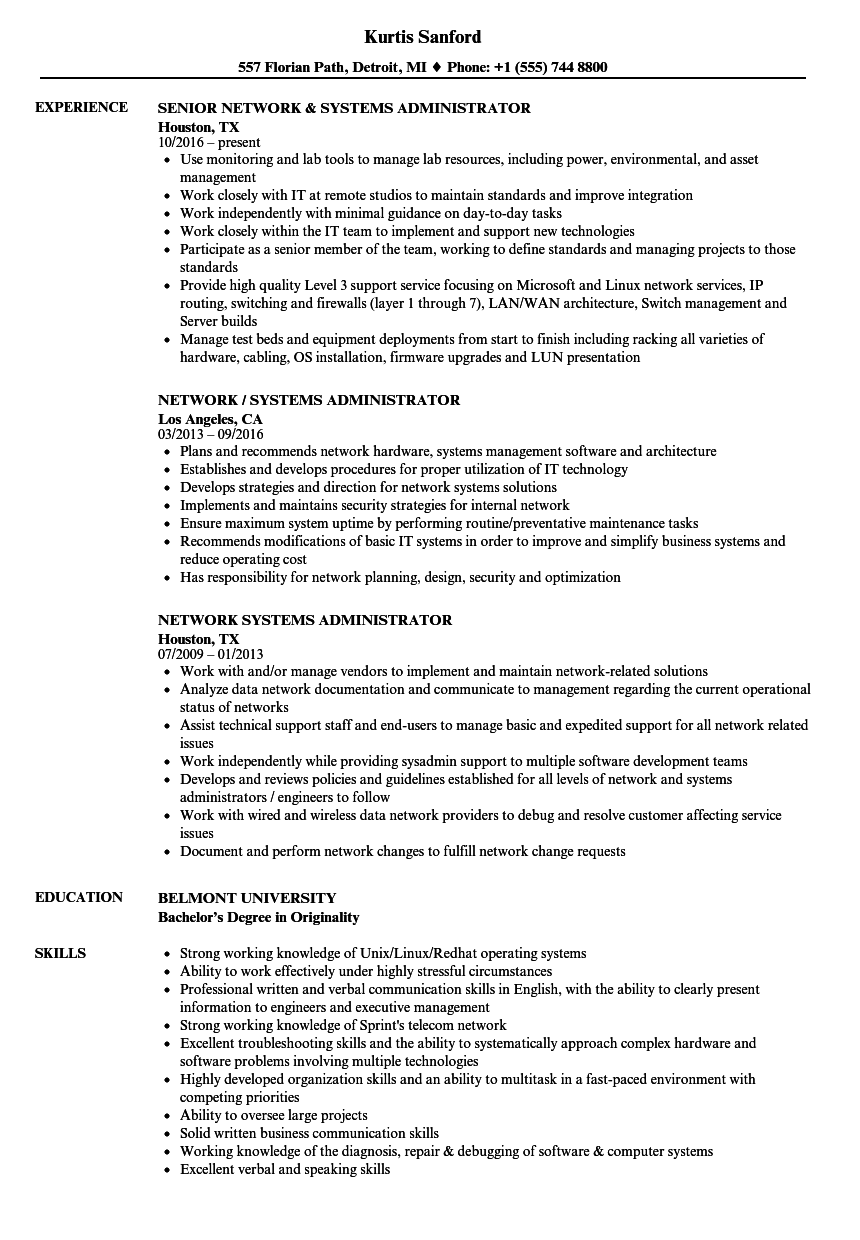 network security administrator resume sample