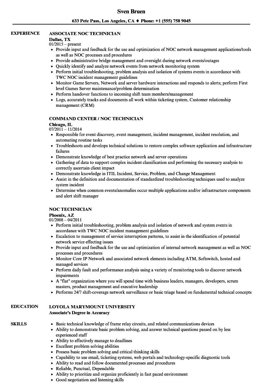 noc technician resume sample