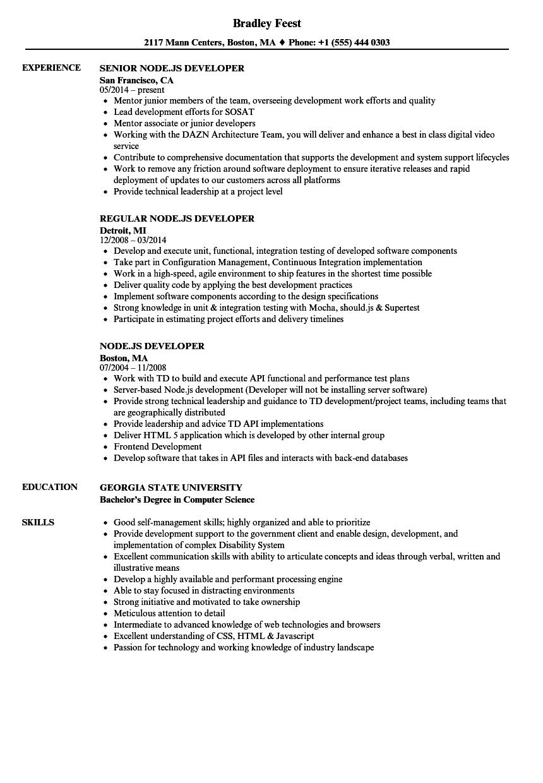 Node JS Developer Resume Samples  Velvet Jobs