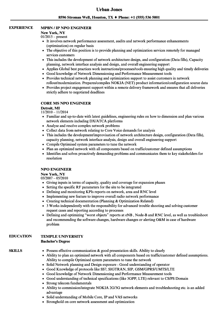 Download Npo Engineer Resume Sample As Image File