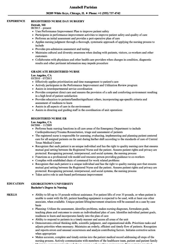 Nurse Registered Resume Samples
