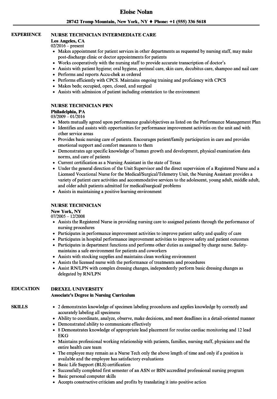 Nurse Technician Resume Samples Velvet Jobs