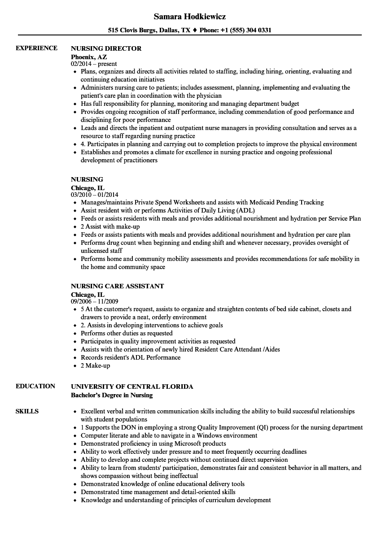 Download Nursing Resume Sample As Image File